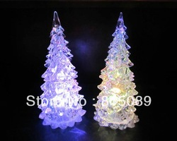 free shipping gift box crystal 7 color christmas tree LED night light accessories lighting party ornament lamp(China (Mainland))