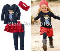 Free Shipping hot sell 5 sets/lot children's clothing set/girls casual clothing suit/headband+long sleeve shirt+skirt+pants