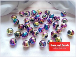 100Pcs/Lot Rainbow Magnetic Hematite Beads For Handmade Shamballa Bracelets Free Shipping Wholesae 10MM High Quality(China (Mainland))