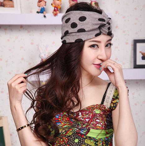 Fashion bandanas irregular polka dot knitted headband elastic thermal thick hairband free shipping(China (Mainland))