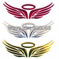 10 PCS free shipping car 3D emblems alloy auto badge angel wings 3 D car stick