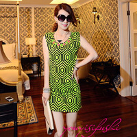 2013 summer new arrival women's summer short-sleeve dress full dress slim basic skirt