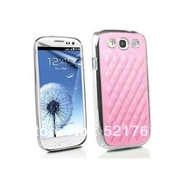 Pink Designer Inspired Luxury Designer Quilted Leather Fashion Deluxe Plastic Chrome Case Cover for Samsung Galaxy S3 I9300