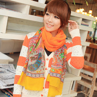 Spring flower 2013 cashew print vintage color block Women scarf cashew nuts