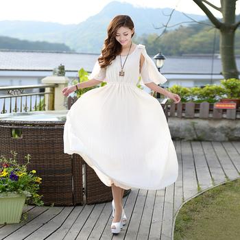 2013 summer elegant chiffon one-piece dress slim ruffled pleated sleeve full dress beach dress