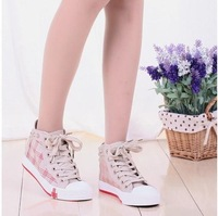 2013 Spring women's lacing && plaid canvas shoes high platform casual for free shipping
