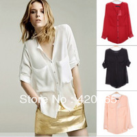 Free shipping 2013 summer women  Brand  fashion large pockets chiffon shirt perspectivity sunscreen collarless loose shirt