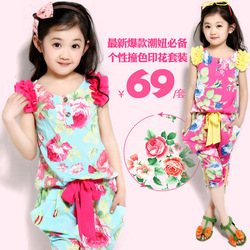 Na Ni Bear brand children's clothing girls summer 2013 new suit children short-sleeved Korean Floral casual two-piece(China (Mainland))