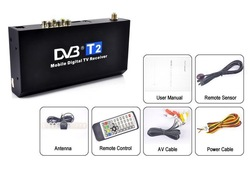 Mobile Digital TV Receiver Car DVB-T2 H.264 MPEG4 HD Tuner 40km/h HDMI Digital TV Receiver Box - Free Shipping(China (Mainland))