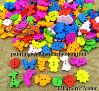 100pcs 12pattern 7color SINGLE OR MIXED WOODEN CARTOONS BUTTONS CLOTHING ACCESSORY CHARMS JEWELRY WCB-078