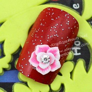 wholesale 100pcs Colorful Resin Rose Fimo 3D Nail Art Tips Phone Scrapbook Decoration free shipping