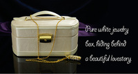 Quality leather portable tetragonum jewelry box with lock  birthday wedding gift FREE SHIPPING