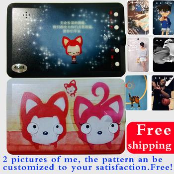 Free shipping cute cartoon card MP3 free custom photo couple birthday present 15 hours playback