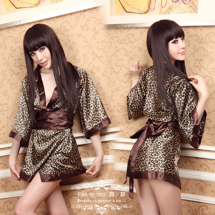 Free Shipping Women's sexy underwear wild leopard japanese kimono style print set plus size 8041(China (Mainland))