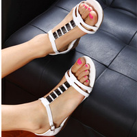Free shipping Genuine leather rhinestone sandals women's wedges shoes t belt flat heel gem cutout casual sandals