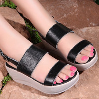 Free shipping Sandals flatbottomed slimming swing shoes genuine leather platform sandals platform shoes women's casual shoes