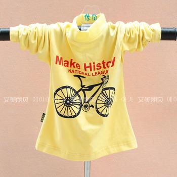 Long-sleeve T-shirt hot-selling female child t-shirt basic shirt bicycle 3 - 7