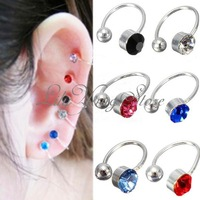 2Pcs Clip on Nose Ear Lip Ring Cuff Earrings Stud Crystal Rhinestone Unisex 6 Color Free Shipping