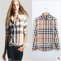 high quality women's designer Blouses 2013 new arrival lady fashion plaid shirts free shipping