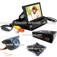 Visible Parking sensor system 4.3 INCH lcd monitor+ccd hd Rear view car UFO camera +Black 4 Sensors Parking sensor AR-852