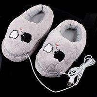 Cute Grey Piggy Plush USB Foot Warmer Shoes Electric Heat Slipper,Free Shipping+Drop Shipping Wholesale
