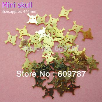 1000pcs Mini skull Nail Art Gold Tip Metal Slice Tiny Sticker Decoration
