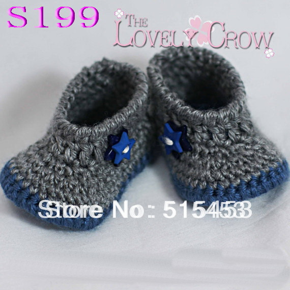 free shipping,200pair/lot Handmade Crocheted Girls boys Baby Booties Crib Shoes,Gray Walker,infant toddler shoes(China (Mainland))