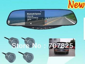HK post mail free shipping, Car Backup Camera with Bluetooth Handsfree and Radio-BT-728SE / Bluetooth Car Mirror Parking Sensor