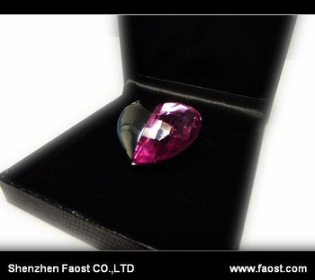 2013 New purple gem heart Pen Drive, hot selling