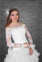 2013 Hot  Ivory/White Lace Bolero Shrug Long Sleeve Bridal Jacket Wedding Jacket  Bridal Jacket