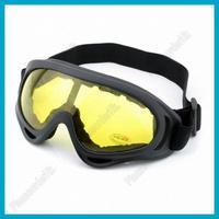 Ski Snowboarding Sports Goggles UV400 Transparent Lemon Lens Black Frame With Elastic Nylon Belt Strap Free Shipping