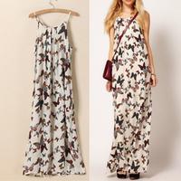 Fashion vintage butterfly 2013 print spaghetti strap full dress bohemia