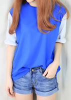 Pear t color block loose candy color t-shirt chiffon shirt female