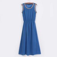 2013 spring and summer color block sleeveless chiffon jumpsuit full dress bohemia tank dress female