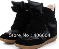 Drop Shipping !Isabel Marant Genuine Leather Size(35~41) Red+Black+Blue Boots Height Increasing Sneakers Shoes Free Shipping