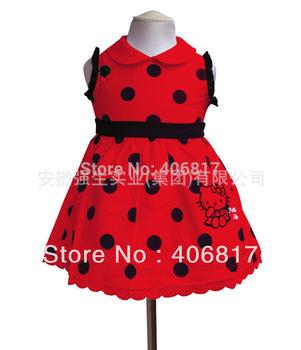 Big Promotion New Brand 2014 Dots Print Sleeveless Doll Collar Hello Kitty Child Girls Dress Princess Dresses