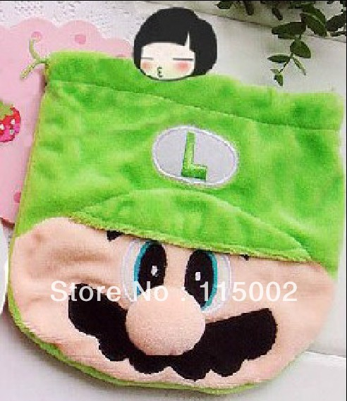 Free Shipping 30/Lot Super Mario Bros LUIGI Birthday Party Favor Candy Drawstring Bag GREEN Wholesale(China (Mainland))