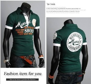 2013 Summer Europe Letter Graffiti Shirt Polo Men Clothes Cotton High-quality 2 Color M-XXXL FreeShipping