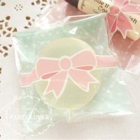 A free shipping 2 colors bowknot self adhesive seal plastic  biscuit packaging bags 8cm*10cm+3cm