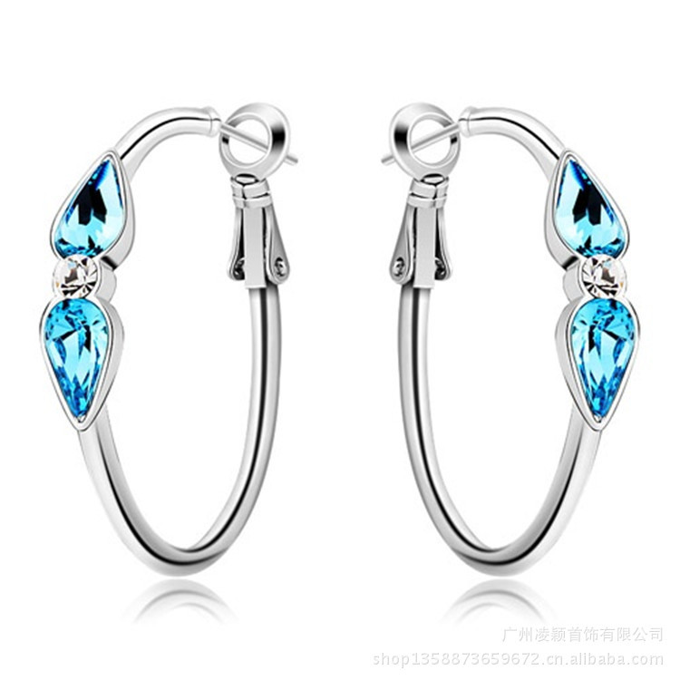 Short hair earrings imported Austrian crystal earrings female red apple jewelry manufacturers wholesale(China (Mainland))