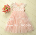 2013 new arrival,  girl high quality bow pearl formal lace grace dress, princess fairy party dress, free shipping