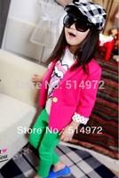 Best selling!!girls dot sleeve chiffon jacket kids small suit casual jacket free shipping