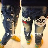 Best selling!!embroidery girls denim pants kids water washing panda pants baby jeans free shipping