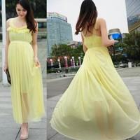 2014 summer women's bohemia full dress beach dress chiffon one-piece dress
