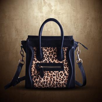 Messenger bag personality street leopard print horsehair micro smiley bag handbag women's handbag bw wholesales