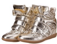 Isabel Marant Genuine Leather size (35~41) Isabel Marant Women's gold wedges casual Boots Height Increasing Sneakers Shoes