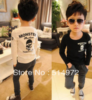 Best selling!!wholesale boys long sleeve o-neck skulls shirt kids cool cotton tees free shipping