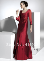 Free Shipping New Arrival A Line Mother of Bride Dresses With Long Sleeves For Mature Women MQ004