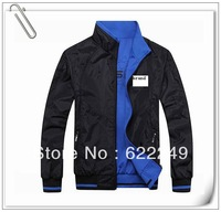 ad -2013 plus-size fashion, the two sides wear,brand Zipper, collar, the men sport jackets coat ,free shipping