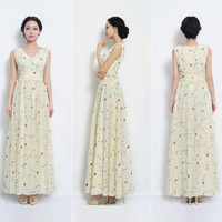 2013 New Fashion Ladies' elegant floral print chiffon long Dresses Pleated slim cascul brand design hot sale evening dress prom